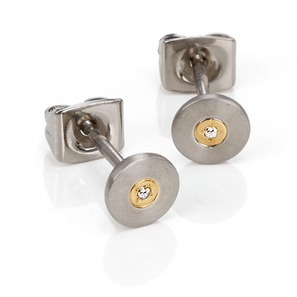 Boccia Titanium Ohrstecker 0545-02 | Reintitan Bicolor 6mm, 2 Brillanten 0.01ct | Artikelnummer: OR67-5