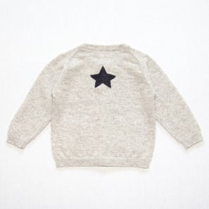 Cardigan with Star | 100% Cashmere, Colour: Light Grey Mélange | Code: 0716BC010181XXX