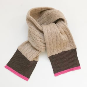 Scarf with Cable Pattern, 1-2 Years | 100% Cashmere, Colour: Beige Mélange  | Code: PLM-10007