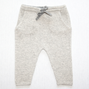 Baby Pants | 100% Cashmere, Colour: Light Grey Mélange (hem: Dark Grey) | Code: 0716BP010181XXX