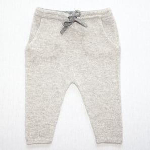 Cashmere Baby Pants | 100% Cashmere, Colour: Light Grey Mélange (hem: Dark Grey) | Code: 0716BP010181XXX