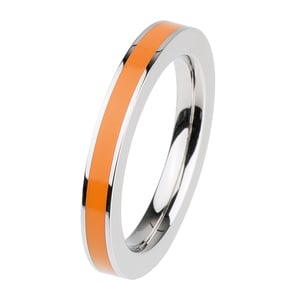 VETOvita Kombi Ring VR78.OR | Keramikauflage orange Edelstahl poliert 3mm | Artikelnummer: VR78.OR