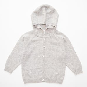 Hoody HARPER, f) 4 years/104 cm | 100% Cashmere, Colour: Light Grey Mélange | Code: 0120BC30b0181104