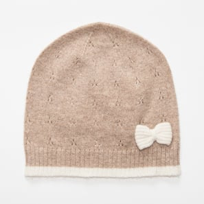 Hat with Ajour and Bow | 100% Cashmere, Colour: Beige Mélange | Code: 0117AH40102XXX