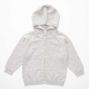 Hoody HARPER, d) 2 years/92 cm | 100% Cashmere, Colour: Light Grey Mélange | Code: 0120BC30b0181092