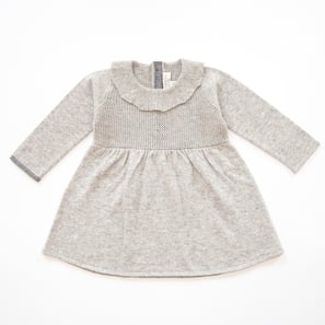 Cashmere Dress PAULINE with collar | 100% Cashmere, Colour: Light Grey Mélange | Code: BD02018181XXX