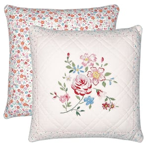 Greengate Belle white | Cushion Belle white w/embroidery 40x40cm, Kissen mit Stickerei | Artikelnummer: QUICUS40EBLL0102