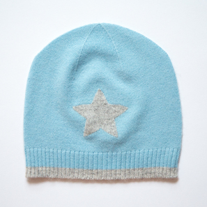 Hat with Star, c) 3-4 years | 100% Cashmere, Colour: Light Blue | Code: 0715AH010154098