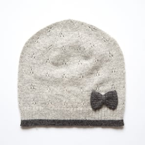 Hat with Ajour and Bow | 100% Cashmere, Colour: Light Grey Mélange | Code: 0716AH040181XXX