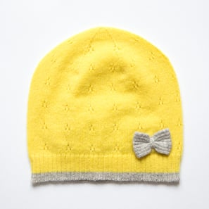 Hat with Ajour and Bow | 100% Cashmere, Colour: Lemon Yellow | Code: 0716AH040111XXX