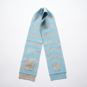 Scarf with Star and Pocket | 100% Cashmere, Colour: Light Blue | Code: 0715AS010154XXX