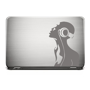 Laptop Sticker HEADPHONE GIRL Grau Skin Aufkleber  |  | Artikelnummer: 72218603