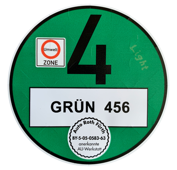 Environmental badge for foreign vehicles registrations - for german green zones | Official and valid for Germany Environmental Zones - UV-consistent laser print | Artikelnummer: 1002