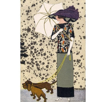 Fashion postcard with dogs | Wiener Werkstätte Postcard No. 519 | Artikelnummer: PODE-KI-8875-2