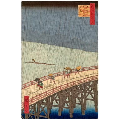 Rain shower above the Great bridge at Atake | Woodcut 100 famous views of Edo | Artikelnummer: PODE-HM-11174-A3S