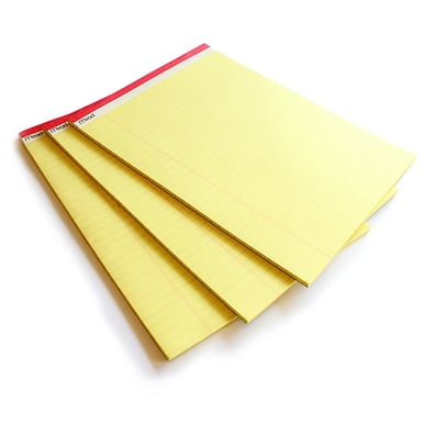 Großes Yellow Pad mit Klebebindung / Large legal pad | 1 Set à 3 Blöcke / 1 pack of 3 | Artikelnummer: 59386_1