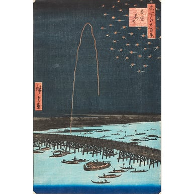 100 famous views of Edo | Fireworks at Ryōgoku | Artikelnummer: PODE-KI-10984-A1S