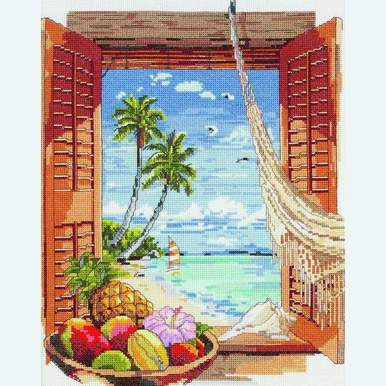 Tropical Vacation Window - borduurpakket met telpatroon Janlynn |  | Artikelnummer: jl-023.0382