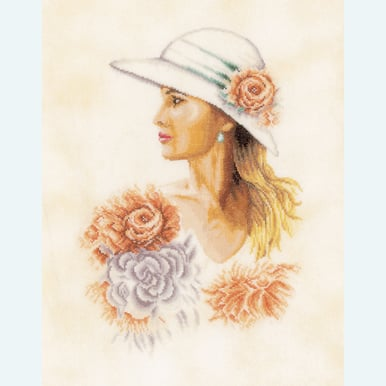 Lady with Hat - borduurpakket met telpatroon Lanarte |  | Artikelnummer: ln-162297