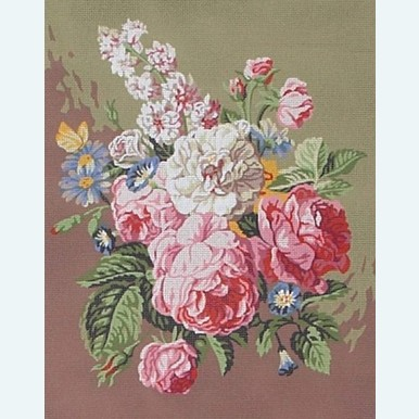 Rose Bouquet - stramien te borduren in halve kruissteek |  | Artikelnummer: rp-142-179-stramien
