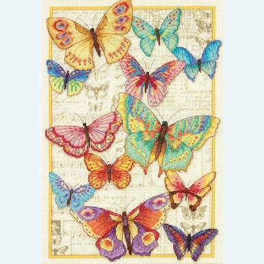 Butterfly Beauty - borduurpakket met telpatroon Dimensions |  | Artikelnummer: dim-70-35338