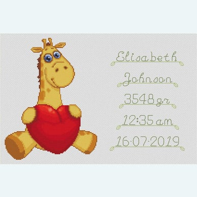 Baby's Heart Birth Tile - Borduurpakket met telpatroon Orcraphics |  | Artikelnummer: orc-2020-02-56