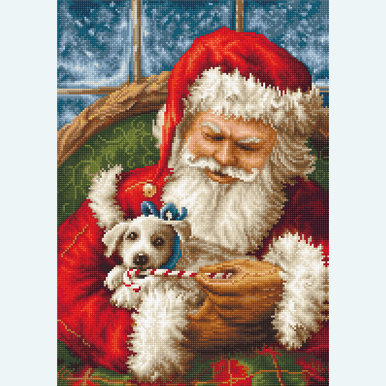Santa Clause with Dog - borduurpakket met telpatroon Luca-S |  | Artikelnummer: luca-b561