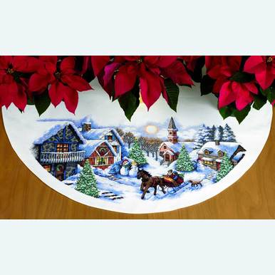 Sleigh Ride Tree Skirt - borduurpakket met telpatroon Dimensions |  | Artikelnummer: dim-70-08830