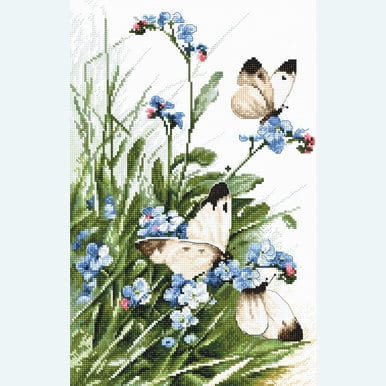 Butterflies and Bluebird Flowers - borduurpakket met telpatroon Letistitch |  | Artikelnummer: leti-939