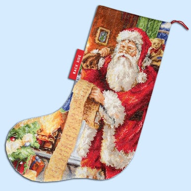 Santa with List Stocking - borduurpakket met telpatroon Luca-S |  | Artikelnummer: luca-PM1232