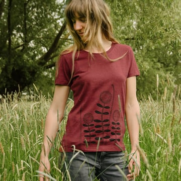 Waldblumen T-Shirt   | heather neppy burgundy | Artikelnummer: Cmig133