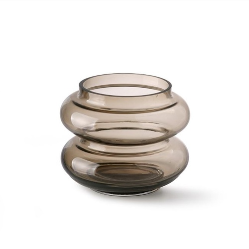 HK Living Vase smoked brown glass S