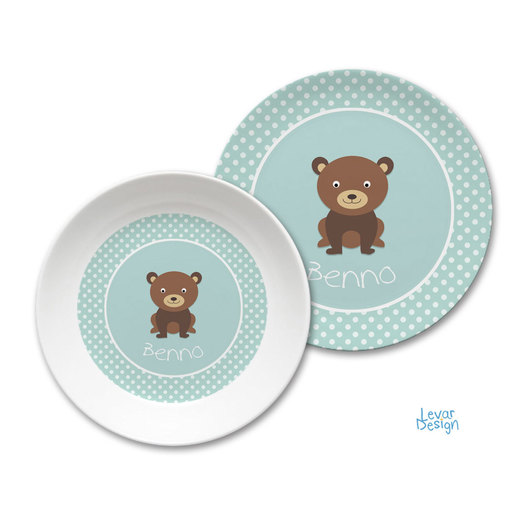 Kindergeschirr Set Dots Bär mint |  | Artikelnummer: 121091955