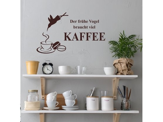 greenluup wandtattoo der fr he vogel braucht viel kaffee wandspruch kaffee f r die k che. Black Bedroom Furniture Sets. Home Design Ideas