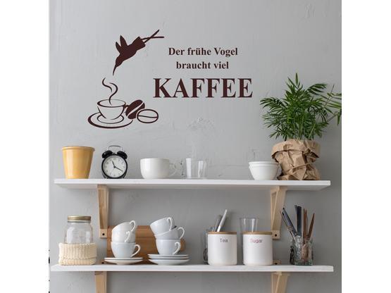 greenluup wandtattoo der fr he vogel braucht viel kaffee. Black Bedroom Furniture Sets. Home Design Ideas