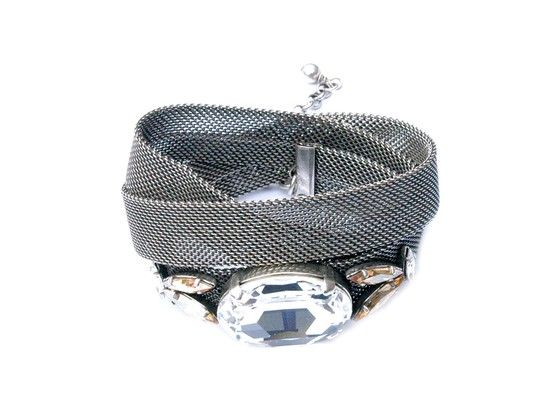 Wickelarmband Esther Antik Silber | Metallgewebe Swarovski Crystal  | Artikelnummer: 3BL85_AS