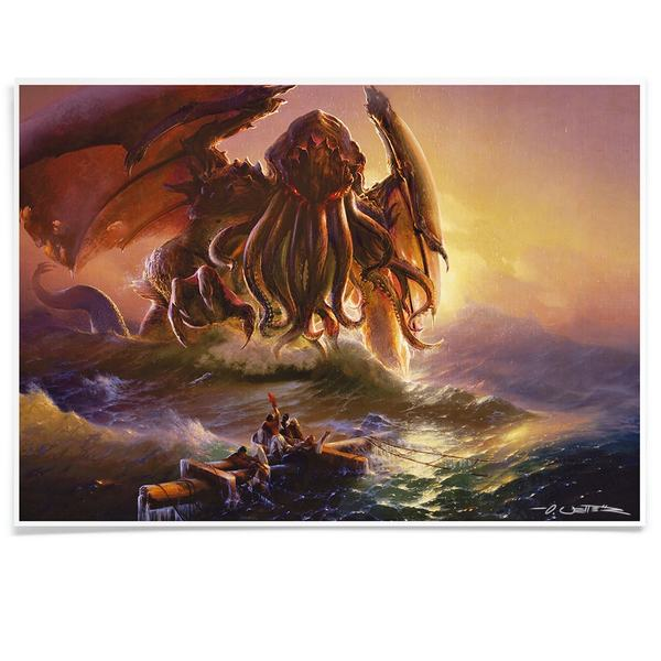 Cthulhu and ninth wave print A3