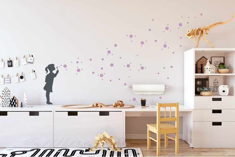 Seifenblasen Mädchen Gr. L Wandtattoo Kinderzimmer - Urban ART Berlin