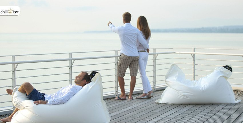 Outdoor Beanbag, white nacre beige, Premium Collection Summertime (ODSTLKWE)
