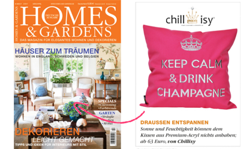 "In- & Outdoor Kissen ""Keep Calm & Drink Champagne"" in Pink (KKOK40PI)"
