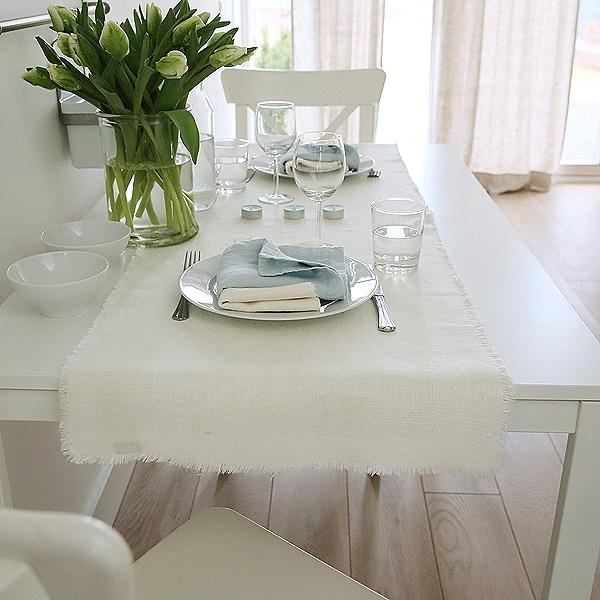 tischl ufer aus leinen in wei linenme. Black Bedroom Furniture Sets. Home Design Ideas
