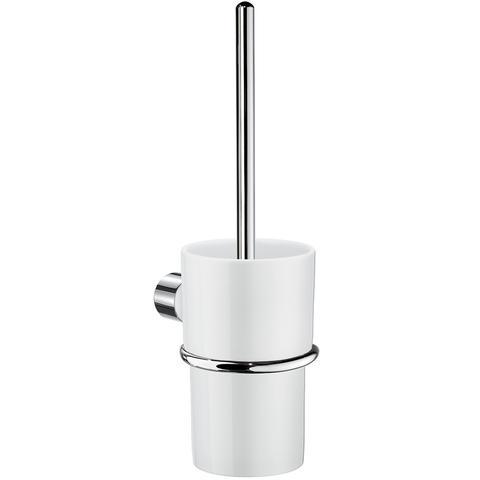 WC Bürstengarnitur klappbar Messing verchromt mit Behälter aus Kunststoff