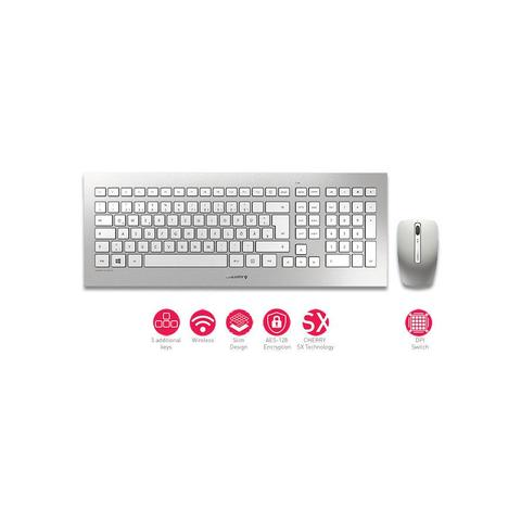 CHERRY DW 8000 Keyboard and Mouse Set, silber/weiß