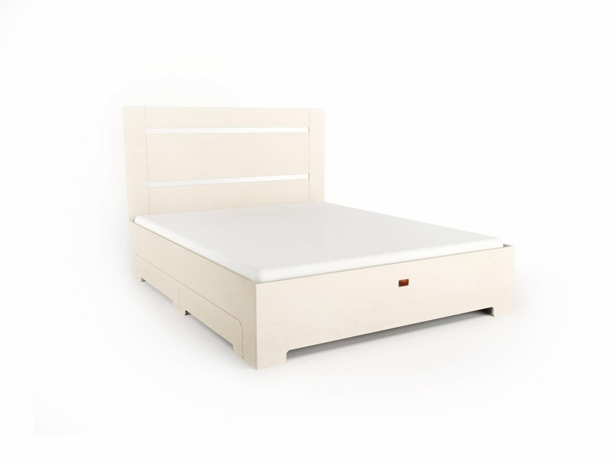 Bett TU:L+ aus Massivholz in weiß mit Schubladen
