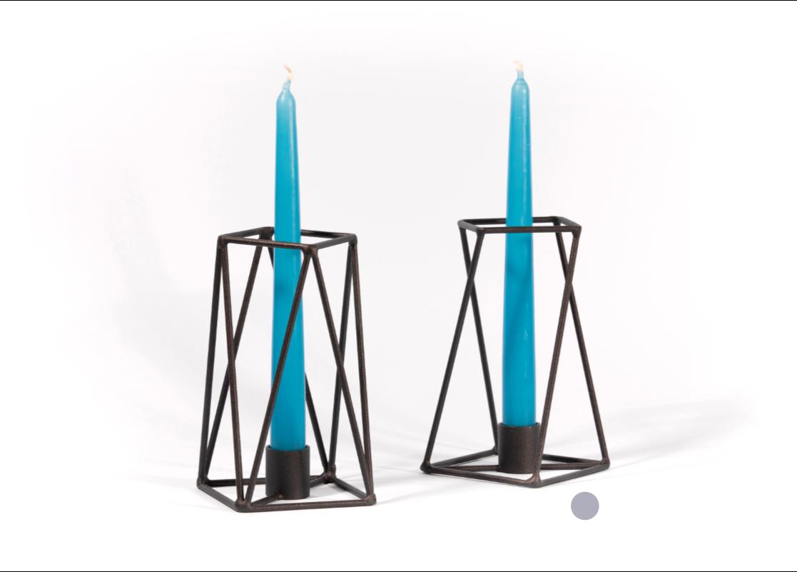 design kerzenhalter schwarz aus metall. Black Bedroom Furniture Sets. Home Design Ideas