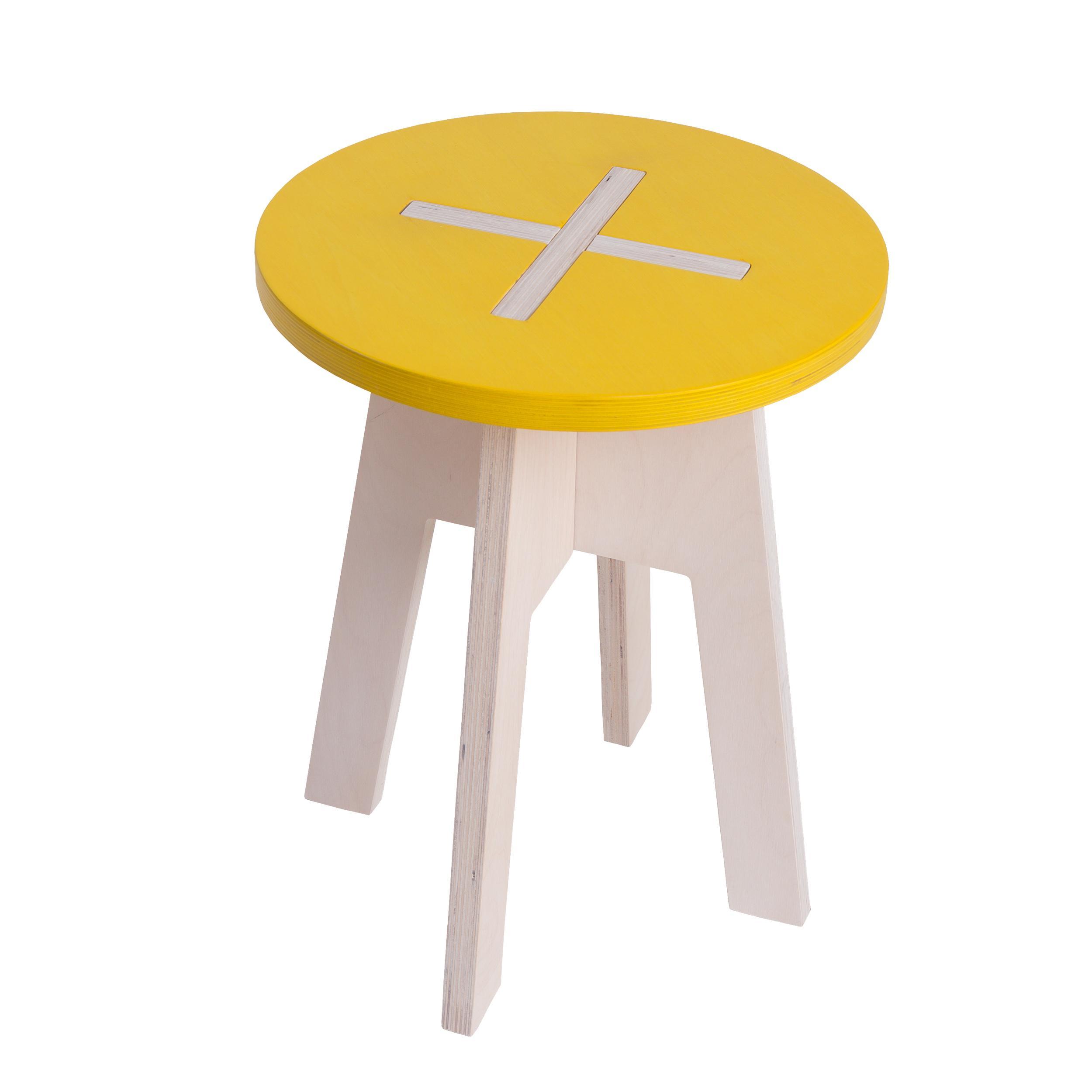 hocker rund aus holz gelb wei. Black Bedroom Furniture Sets. Home Design Ideas