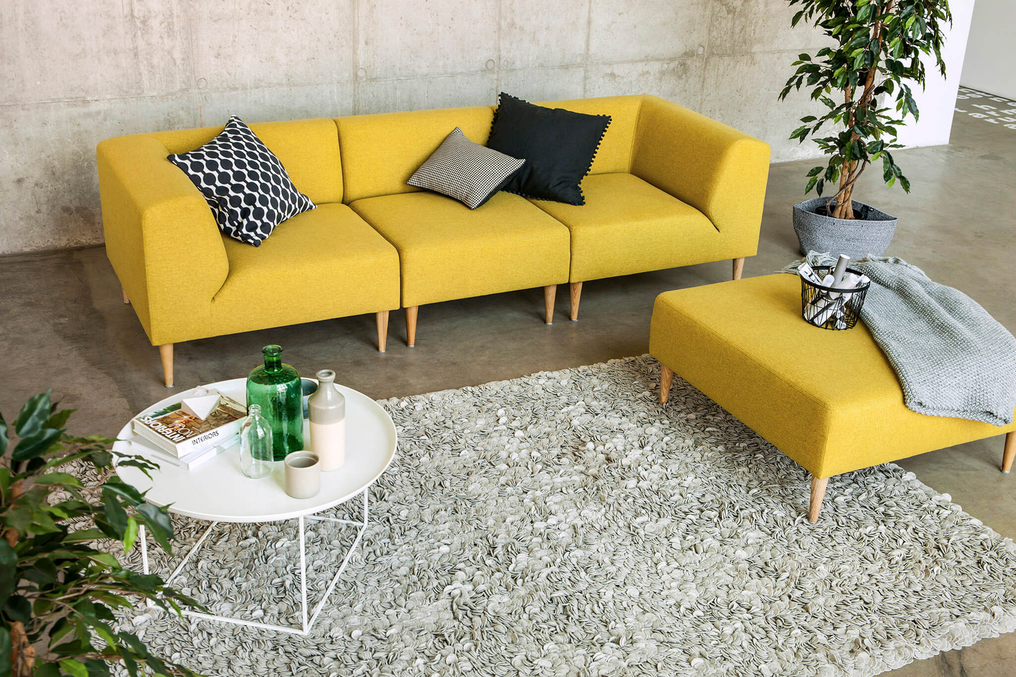 Modulsofa im skandinavischen look modul hocker 70 cm for Sofa 70 cm tief