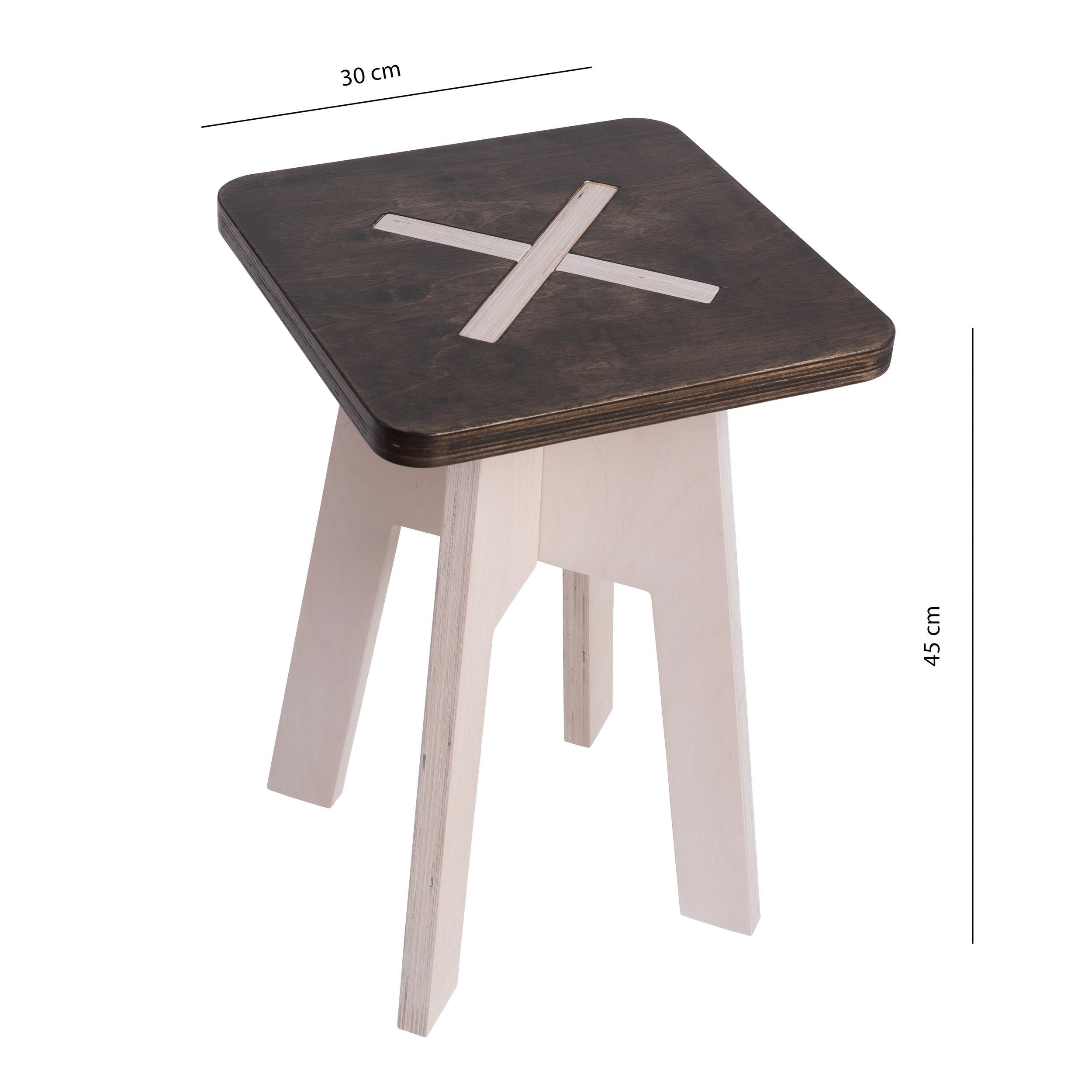 eckiger hocker aus holz schwarz wei. Black Bedroom Furniture Sets. Home Design Ideas