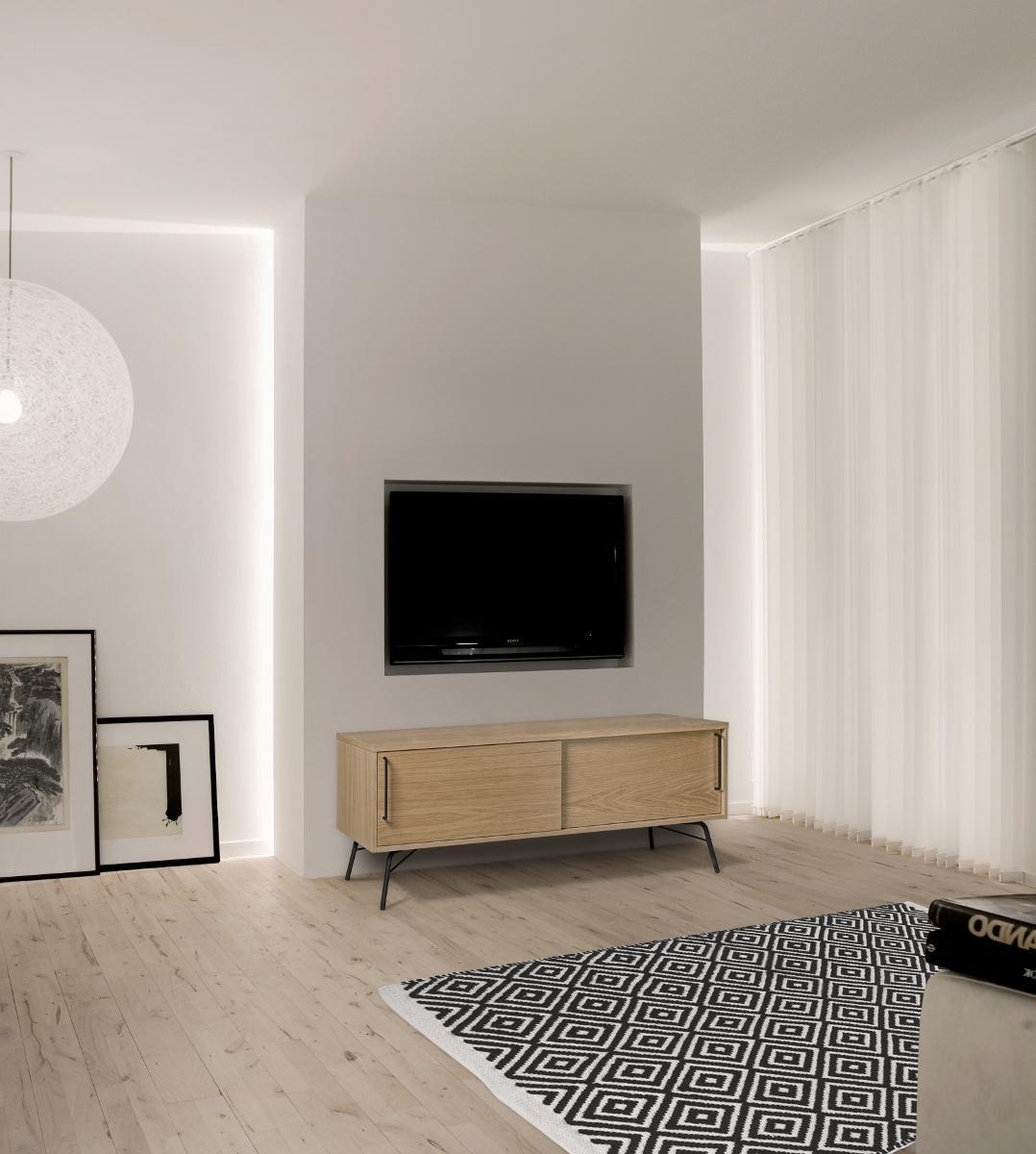 TV-Konsole Ashburn aus Holz & Metall - schwarz