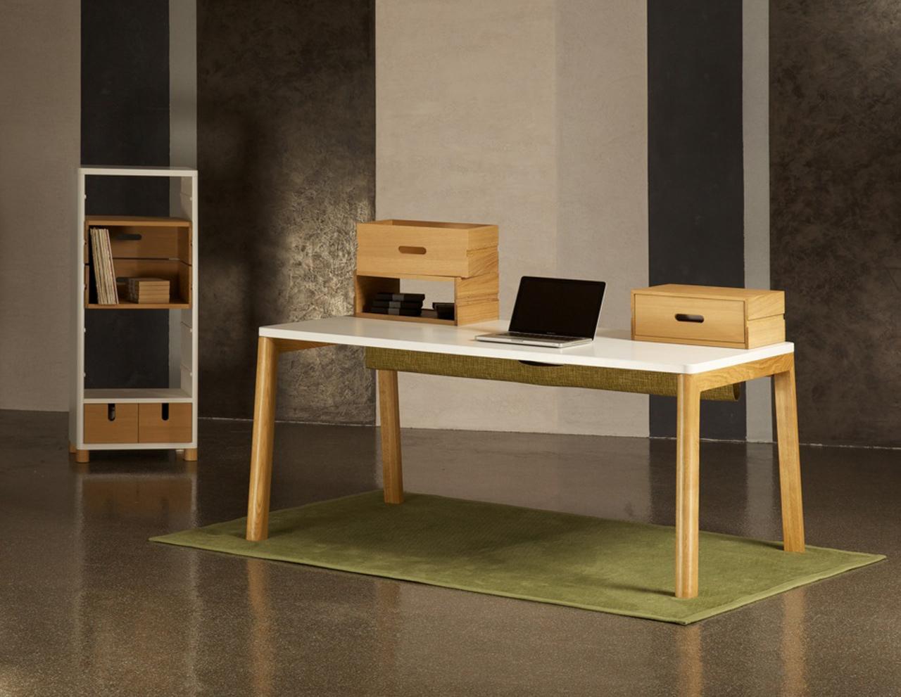 Designer schreibtisch in wei und holz 160 cm for Schreibtisch nordisch